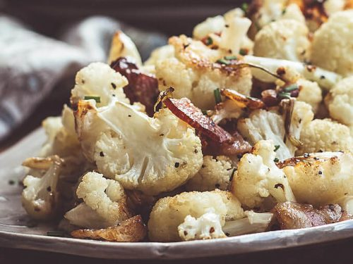 cauliflower roasted with bacon and caramelized green onions low