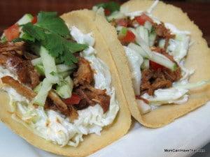 Pulled Pork Soft Tacos With Sesame Slaw
