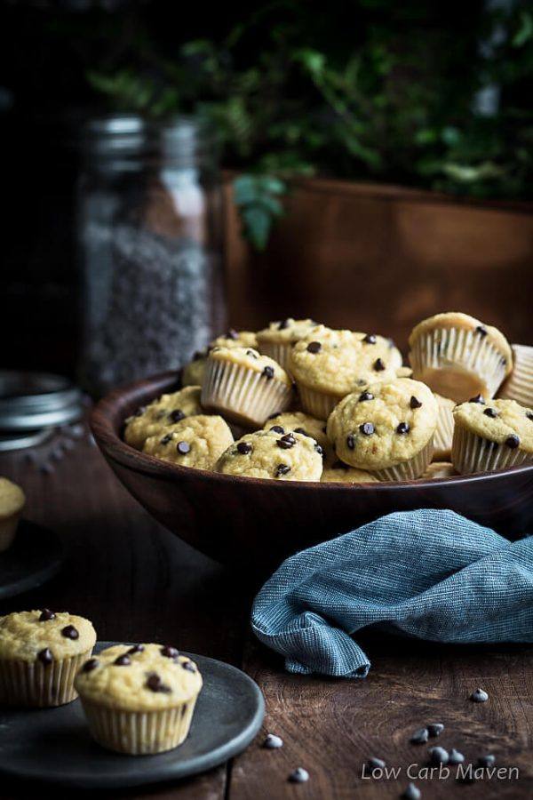 Looking for easy low carb muffins recipes? How about healthy mini chocolate chip muffins made with coconut flour for sugar-free or keto diets.