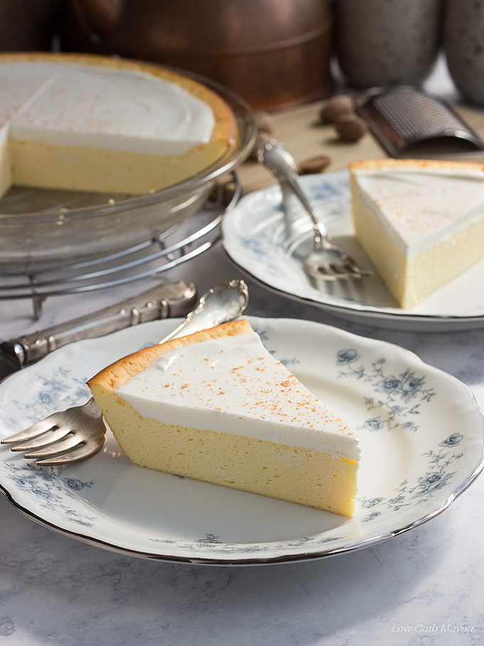 Nana's Cheese Pie (crustless cheesecake) Easy cream cheese pie recipe made in a pie plate. #lowcarb #keto #sugarfree #cheesecake #cheesepie #crustless #easycheesecake