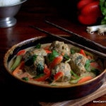 Massaman Curry With Turkey Meatballs | peanut flavorful coconut curry with spinach curried meatballs | LC GF DF Paleo | https://lowcarbmaven.com