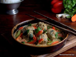 Massaman Curry With Turkey Meatballs | peanut flavorful coconut curry with spinach curried meatballs | LC GF DF Paleo | http://lowcarbmaven.com