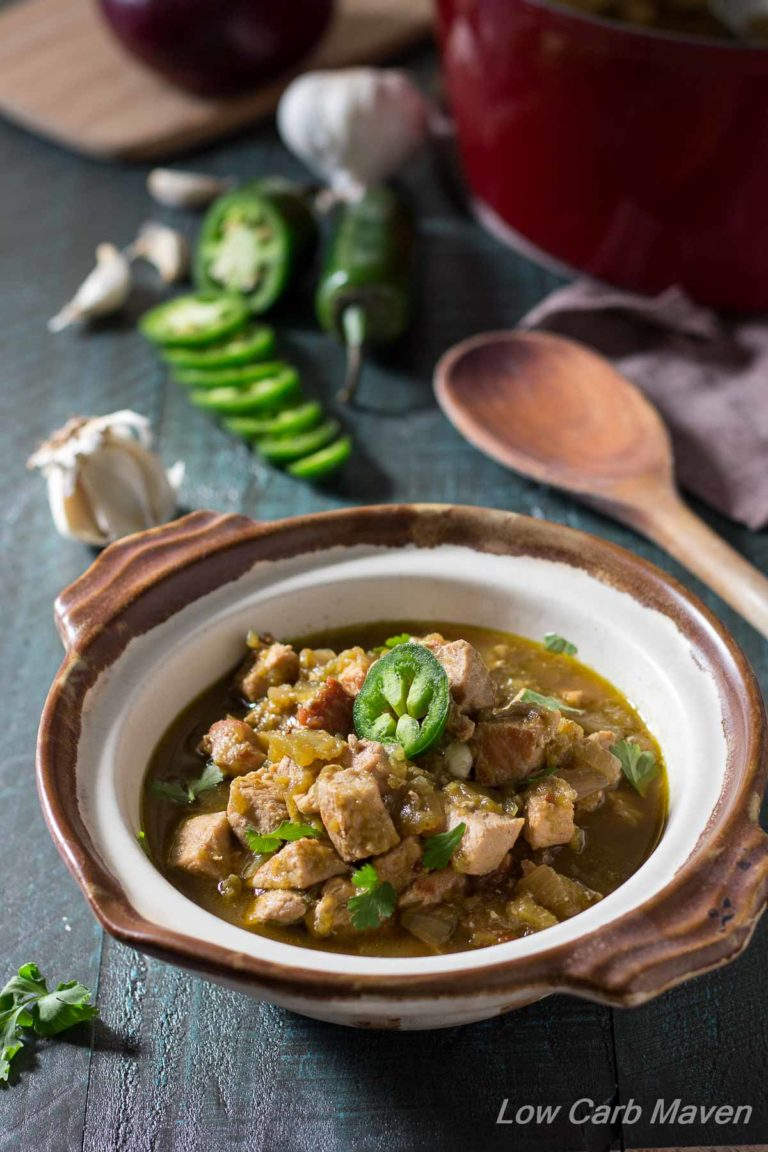 New Mexico Green Chile Pork Stew is an easy and flavorful low carb stew perfect for any ketogenic or Paleo diet.