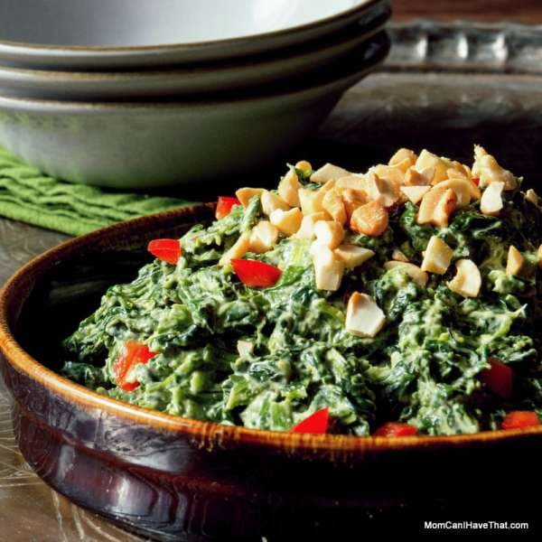 Creamed Coconut Curry Spinach | a fast and easy side | LC CG DF Paleo Vegan | http://lowcarbmaven.com