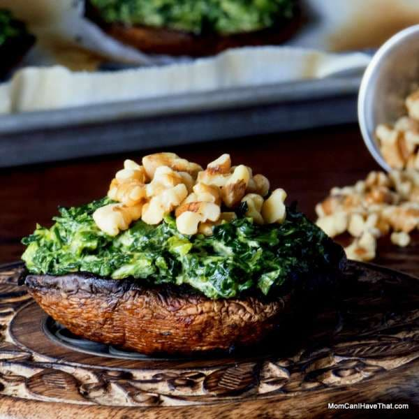 grilled portobellos with curried spinach | great for meatless mondays | LC GF DF Paleo Vegan | https://lowcarbmaven.com