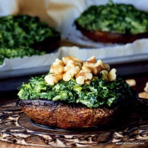 Low Carb Grilled Portobellos Stuffed With Curried Spinach