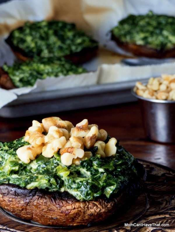 Curried Spinach Stuffed Portobello Mushrooms with walnuts