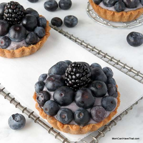 Bluesy Blueberry Tarts | blueberries, blueberry pastry cream & shortbread shell | low carb, gluten-free, dairy-free, Paleo | lowcarbmaven.com