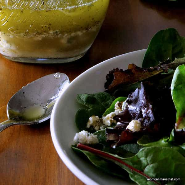 Crumbled Blue Cheese Vinaigrette is easy to make and especially good on steak salads | low carb, gluten-free, keto | lowcarbmaven.com