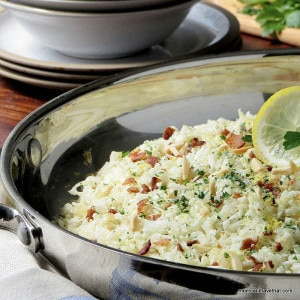 Riced Cauliflower Pilaf a great tasting side that goes with almost anything. | low carb, gluten-free, dairy-free, Paleo | lowcarbmaven.com