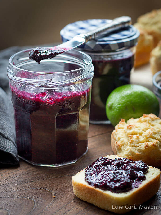 Sugar-free blueberry chia seed jam is keto friendly and delicious!