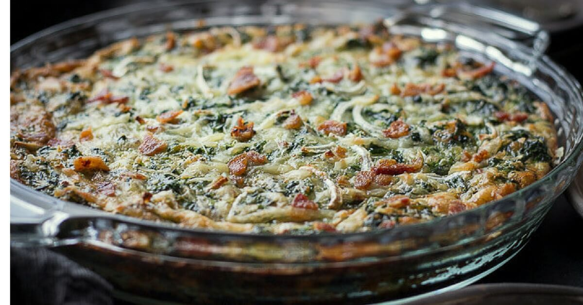 Crustless Spinach Quiche Recipe With Bacon Low Carb Maven