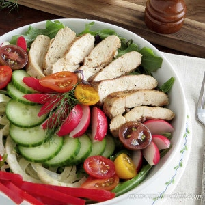 Herbed Grilled Chicken Salad is perfect for lunch or dinner. Especially designed with Atkins Induction in mind. | low carb, gluten-free, dairy-free, Paleo,Keto | lowcarbmaven.com