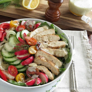Herbed Grilled Chicken Breast Salad is perfect for lunch or dinner. Especially designed with Atkins Induction in mind. | low carb, gluten-free, dairy-free, Paleo,Keto | lowcarbmaven.com