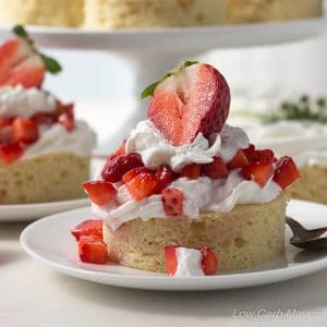 Low Carb Strawberry Shortcake Dessert is gluten free with a dairy free almond cake.