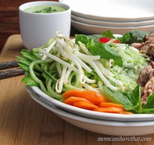 Low Carb Thai Beef Salad Noodle Bowl