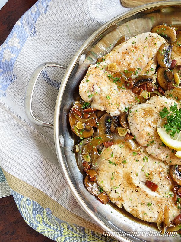 This recipe for Turkey Marsala consists of flattened turkey scallopini with bacon, mushrooms, garlic and onions in a Marslla wine sauce presents a nice twist on the traditional Italian-American dish of Chicken or Veal Marsala. This low carb version is easy to prepare and full of flavor. | LC DF GF Paleo