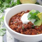Easy Chorizo Skillet Chili, using home made chorizo, comes together in minutes. 8 net carbs per serving | low carb, gluten-free, dairy-free, paleo, keto, THM-S | lowcarbmaven.com
