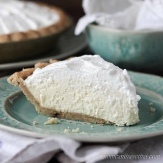 Slice of fluffy banana cream pie on green plate. low carb, keto recipe