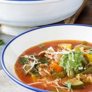 Skipping the starchy pasta and beans and adding rotisserie chicken keeps this Healthy Chicken Minestrone Soup low carb and hearty enough for a main meal.   low carb, gluten-free, dairy-free, Paleo   lowcarbmaven.com