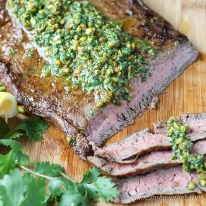 Indian Spiced Flank Steak with Cilantro Pistachio Pesto | low carb, gluten free, dairy free, paleo | lowcarbmaven.com