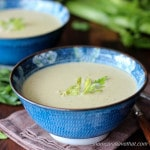 Creamy Celery Fennel Soup with Rotisserie Chicken is an easy low carb, gluten-free soup with a secret ingredient! | lowcarbmaven.com