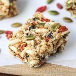 Gluten-free oats, nuts, & seeds make the base for these lightly - sweetened Kitchen Sink Snack Bars healthy - currents, puffed rice & gogi berries make them fun.| gluten-free, dairy-free | MomCanIHaveThat.com