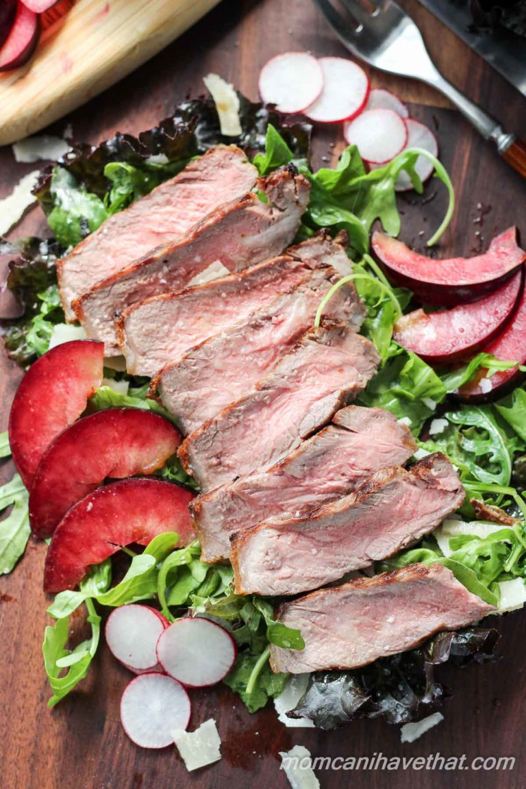 NY Strip Salad with Plums and Balsamic Reduction | Low Carb, Gluten-free, Paleo, THM-S | mamcanihavethat.com
