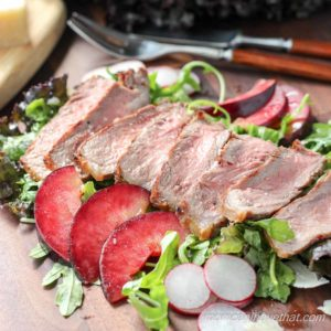NY Flank Steak Salad with Plums and Balsamic Reduction (Low Carb)