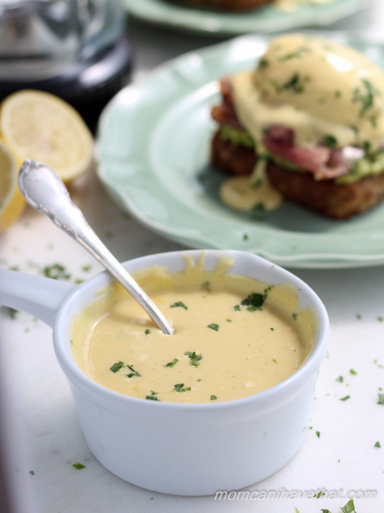 This recipe for blender Hollandaise will have your poached eggs or veggies sauced in minutes with minimum effort. It's silky, creamy, buttery and easy. | lowcarbmaven.com