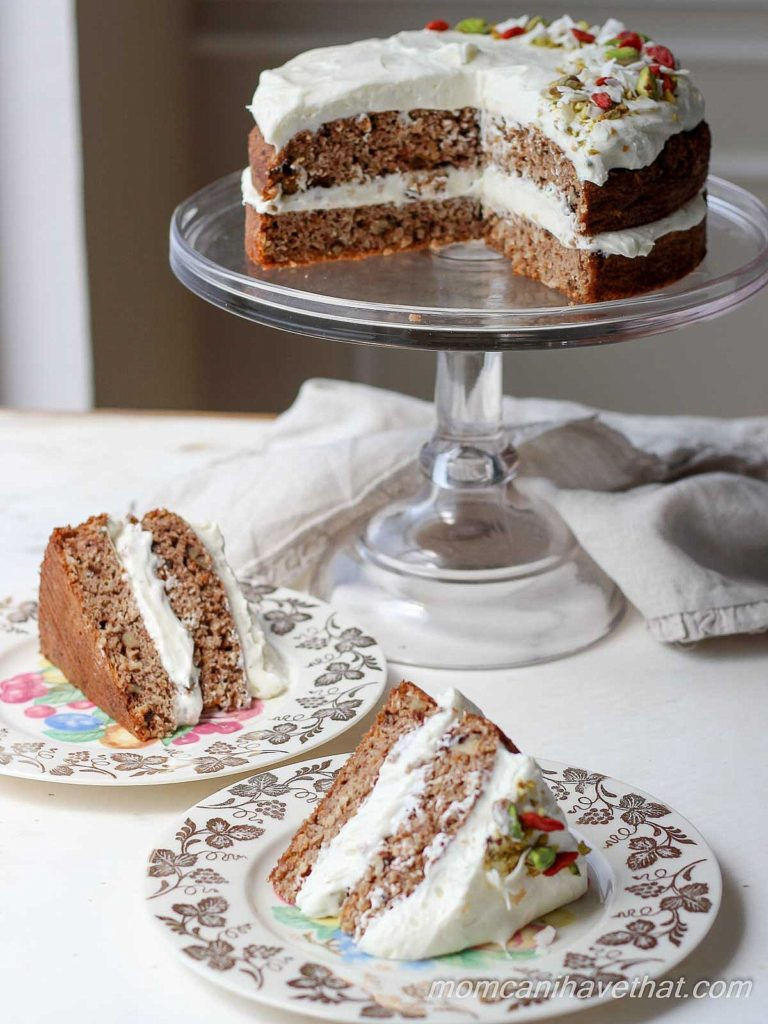 This healthy low carb carrot cake recipe has a silky gingered cream cheese frosting.