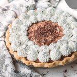 Sugar free chocolate pie (French silk pie) with whipped cream.
