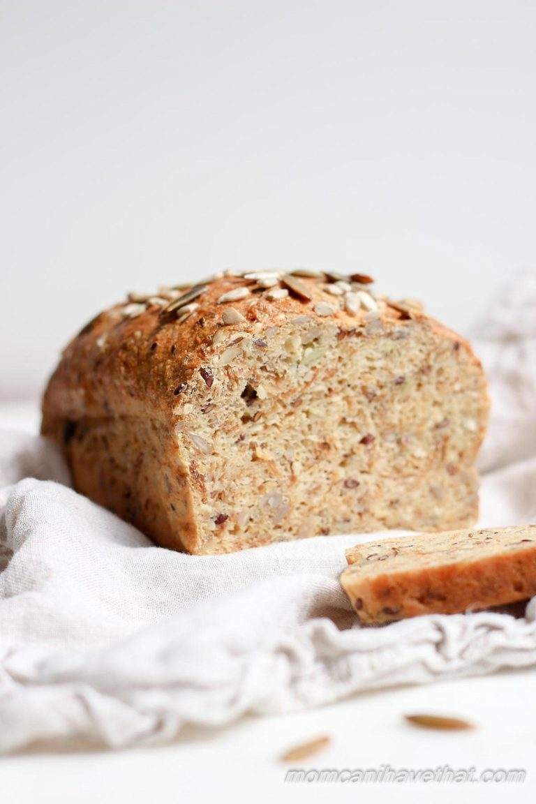 Dense, chewy, flavorful low carb bread that's full of healthy seeds. Reminiscent of a good European bread, this one is Low carb, Gluten-free, Dairy-free and Nut-free.   lowcarbmaven.com
