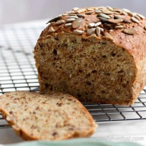 Dense, chewy, flavorful low carb bread that's full of healthy seeds. Reminiscent of a good European bread, this one is Low carb, Gluten-free, Dairy-free and Nut-free. | lowcarbmaven.com