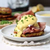 Zucchini Fritter Eggs Benedict | Low Carb, Gluten-free, Paleo, Keto, THM | lowcarbmaven.com