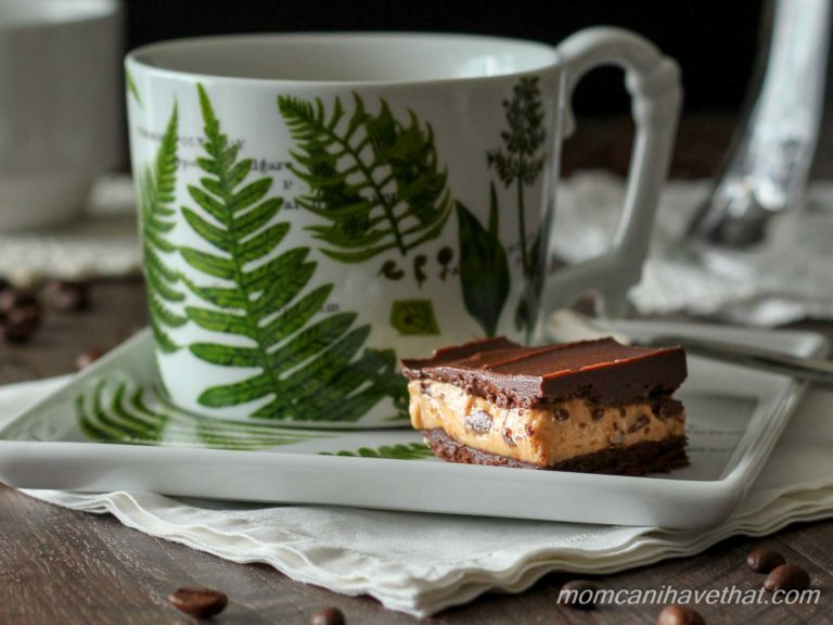 Low carb layered dessert fat bomb of chocolate and peanut butter on a white porcelain plate decorated with green botanical ferns with matching coffee cup.
