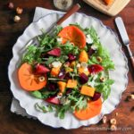 Arugula and Persimmon Salad with Butternut Squash, Beets, and Citrus Vinaigrette | Primal, Paleo, Vegetarian | lowcarbmaven.com