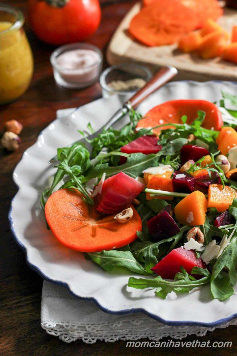 Arugula and Persimmon Salad with Butternut Squash, Beets, and Citrus Vinaigrette | Primal, Paleo, Vegetarian | lowcarbmaven.com