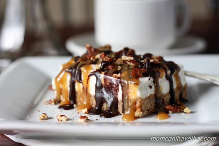 Pecan Turtle Cheesecake Bars have a brown sugar pecan crust & light ...