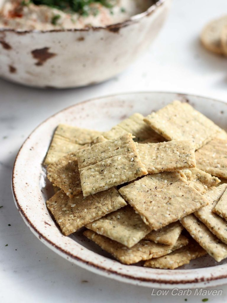 Paleo Almond Sesame Crackers | low carb, dairy-free, gluten-free, paleo, keto, thm | LowCarbMaven.com