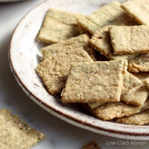 Low Carb Paleo Almond Flour Crackers wIth Sesame Seeds (Gluten-Free)
