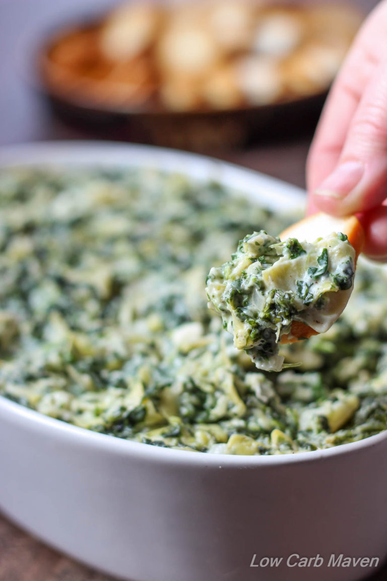 Feta Spinach Artichoke Dip is fast and tasty! | low carb, gluten-free, ketogenic, thm | LowCarbMaven.com