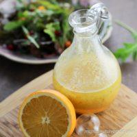 Orange Vinaigrette salad dressing with fresh orange and mixed green salad