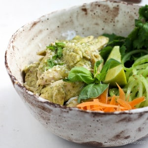 Easy Weeknight Coconut Basil Chicken promises great Thai flavors & a complete meal on the table in 20! | low carb, gluten-free, dairy-free, paleo, thm | LowCarbMaven.com