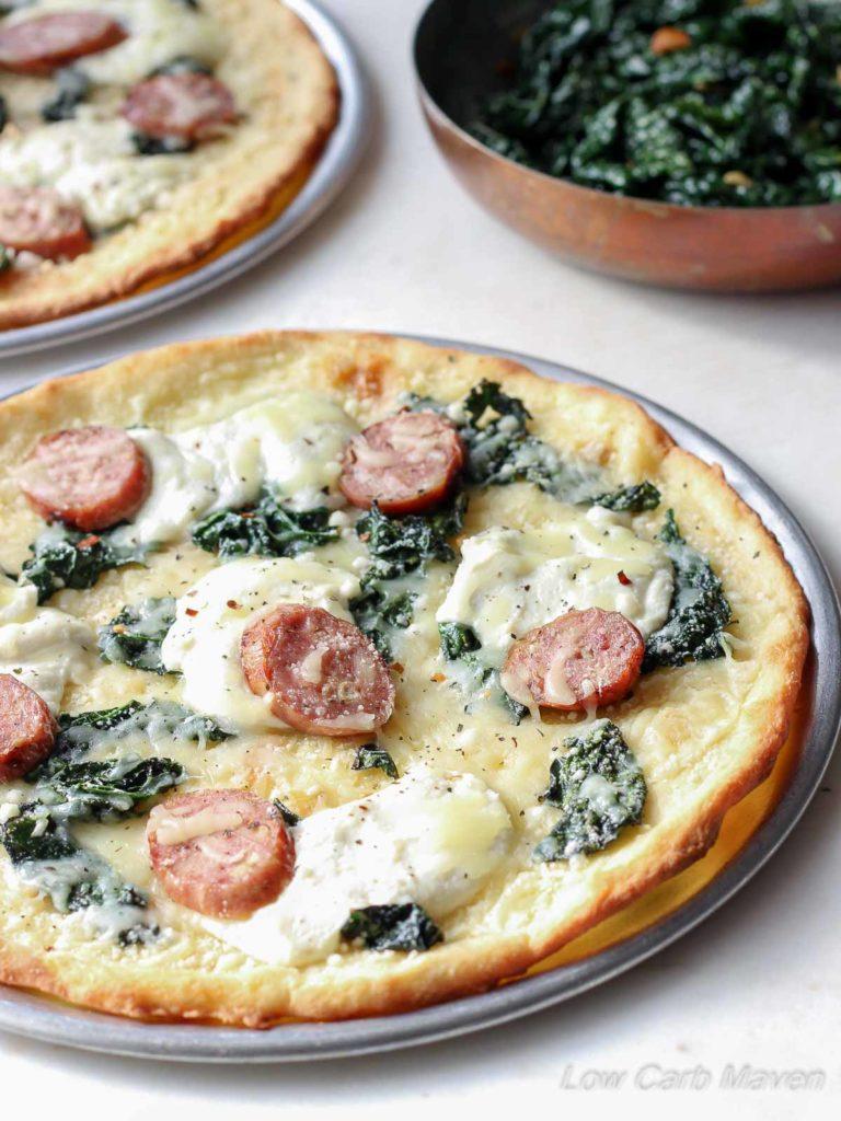 Low Carb Sausage Kale Ricotta Pizza | low carb, gluten-free, Keto, THM | LowCarbMaven.com