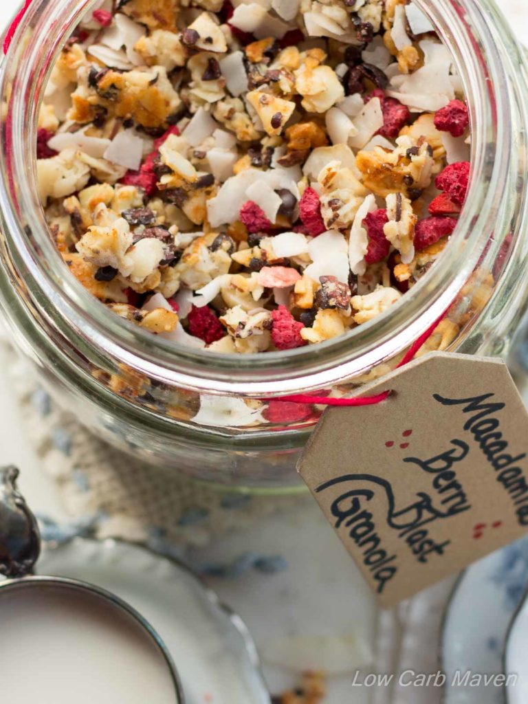Low Carb Macadamia Nut Granola With Berries and Flaked Coconuts