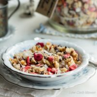 Macadamia nuts, coconut flakes, and cacao nibs collide with freeze dried strawberries and raspberries to create a great low carb breakfast sensation! |lowcarb, gluten-free, dairy-free, Paleo, Keto, THM