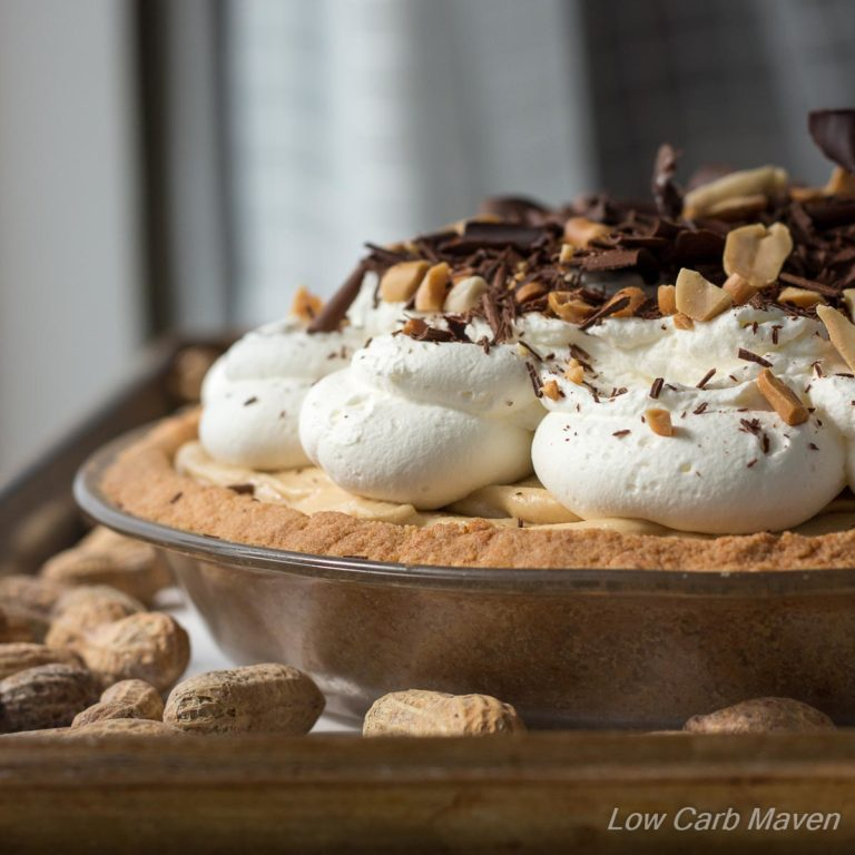 This luscious Low Carb Peanut Butter Pie is completely made from scratch with wholesome ingredients | Lowcarbmaven.com