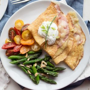 Ham and Swiss Crepes are super easy and tasty. They are perfect for breakfast, lunch, or brunch! | low carb, gluten-free, keto, thm