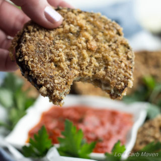 Low Carb Crispy Eggplant Rounds make a great snack, side, or meal. | low carb, gluten free, keto, lchf, thm
